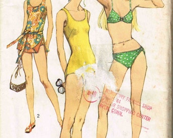 Bikini Bra Top and Bottoms, Tankini, One Piece Swimsuit Bathing Suit Vintage 1970s Simplicity 9321 Sewing Pattern Size 8 Bust 31.5