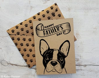 INSTANT Download printable Father's Day card from the dog boston terrier or french bulldog cute simple illustrated card print from home