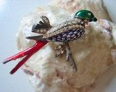Vintage bird brooch, vintage swallow brooch, enamel bird brooch, rhinestone bird brooch, house martin brooch