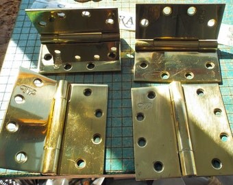 4 large Brass Door Hinges, solid brass, square corner, 4 1/2 x 4 1/2 inch, security NRP, heavy duty , shop destash