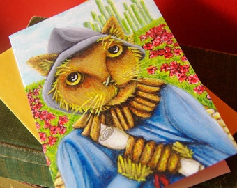 Scarecrow Cat, Wizard of Oz, Cat Art 5x7 Blank Greeting Card