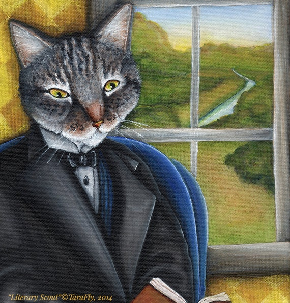 Literary Cat Art, Grey Tabby Cat Reading Book by Window 5x7 Art Print CLEARANCE