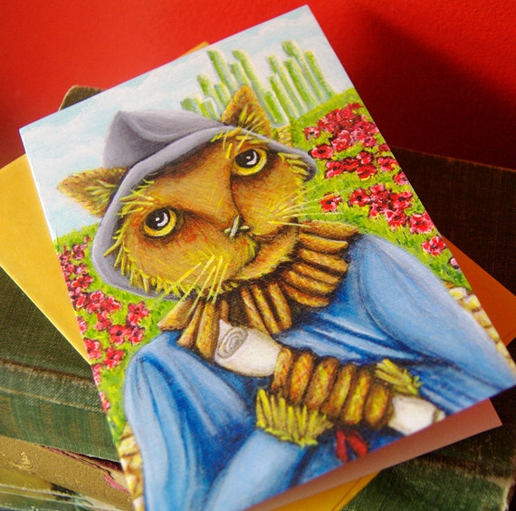 Scarecrow Cat, Wizard of Oz, Cat Art 5x7 Blank Greeting Card