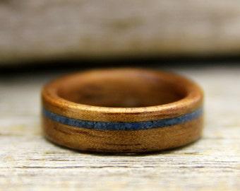 Wood Ring - Hawaiian Koa Wooden Ring with Offset Lapis Lazuli Inlay - Handcrafted Bentwood Wedding Ring - Custom Made
