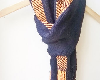 Cashmere Merino Scarf in Navy and apricot Orange
