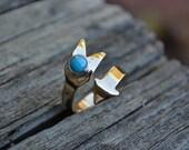 Turquoise Arrow Ring, Brass Arrow Ring, Arrow, Turquoise, Adjustable