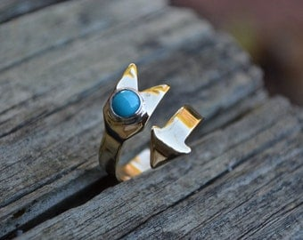 Turquoise Arrow Ring, Brass Arrow Ring, Arrow, Turquoise, Adjustable