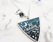 Be Brave Personalised Birthstone Pendant - Silver