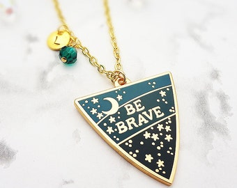 Be Brave Personalised Birthstone Pendant - Gold