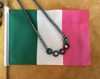 Republic of Newfoundland Pink White Green Hematite Necklace Old Flag Colours Show Your Colours