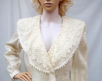 80s Ivory Linen Blouse size Medium Tatted Lace Collar Liberty Lucrezia