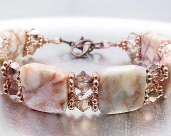 Redline Marble and Copper Crystal Glass Bracelet or Medical ID Bracelet