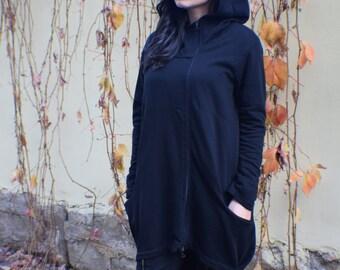 Black Hoodie, Womens Hoodie, Long Black Jacket, Plus Size Hoodie, Asymmetrical Hoodie, Maxi Cardigan, Sweater Hoodie, Yoga Clothes