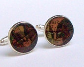 Cuff links UPCYCLED from X men Wolverine vintage comic RECYCLED into silver plated cufflinks