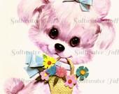 Vintage Big Eyed Pink Puppy Image Digital Download vintage dog poodle diy birthday invite card 1970s flowers retro large transfer big eyes