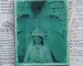 Virgin Mary, Statue, Saint, Iconic, Religious, Goddess, Photography, Aquamarine, Gold Leaf,  5 x 6, Re-purposed Wood