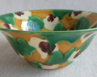Antique French Provence Tian Confit Glazed Terracotta Bowl