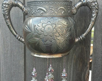 Sweet Sugar--Antique Silver-Plated Sugar Bowl given new life as a Wind Chime