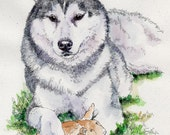 SIBERIAN LEGEND Original Watercolor on ink print 11x14 Matted Ready to Frame