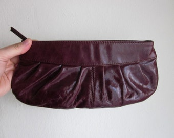Burgundy Leather pleated clutch or makeup bag
