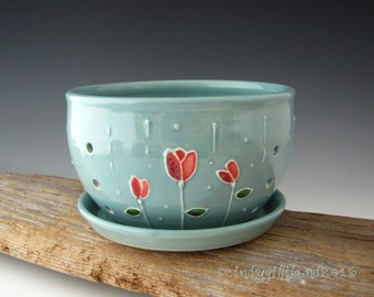 Pottery Berry Bowl in Vintage Turquoise with Raindrops on Roses - Colander - by DirtKicker Pottery