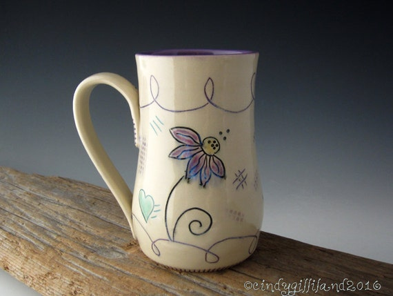 Dreamer Mug with Echinacea and Dragonfly - Pottery Mug - Coffee Mug - by DirtKicker Pottery