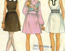 Vintage 60s McCalls 9700 Junior Miss Mini Dress with Cropped Vest and Fitted Waist Sewing Pattern Size 7 Bust 32