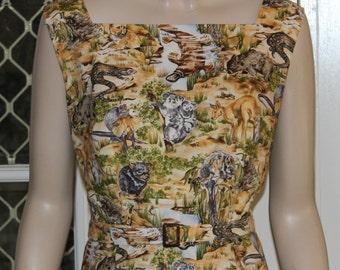 1950's style CLASSIC Sheath Dress. Australian Animals