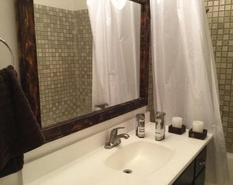 Rustic Wood Mirror - 35 x 45 bathroom Mirror - Torched Mirrors - Custom Size Mirrors