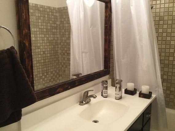 wood mirror 35 x 45 bathroom mirror torched mirrors custom