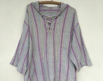 Vintage Gauze Lavender Striped Hoodie Long Sleeve Tunic Shirt M L