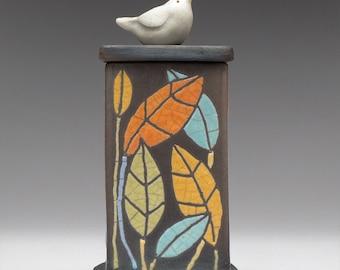 Ceramic box, Bird, colorful leaves, ceramic Raku Fired Box, handmade treasure box,home decor