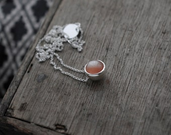 Small Peach round Moonstone ball pendant necklace
