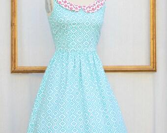 aztec print dress , blue arizona print dress , racer back , womens dress - rockabilly dress -