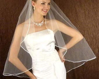 "Lovely ribbon edge Veil  36"" diamond white single tier"