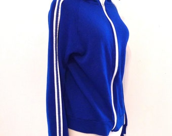 70s Classic Warmup Track Jacket Blue Trainer Zip Running Sweatshirt Cool Kids Windbreaker No Logo Creslan Acrylic Sports USA Street Medium