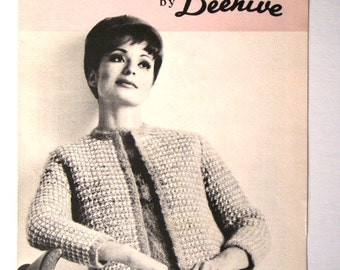 Vintage Three Piece Suit Pattern Patons Beehive No 2030 Sleeveless Top Skirt and Jacket Knitting Pattern with Tweed Effect Sizes 12 14 16 18