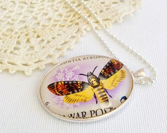 butterfly necklace, vintage 1959 postage stamp jewelry, Magyar Posta Hungary, moth necklace