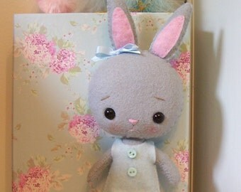 Precious Little Pocket Bunny...Pale Gray...Hand Sewn...Darling for Spring and Easter