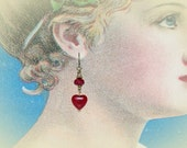Ruby Red Heart Earrings. Valentines Jewelry