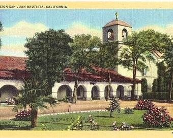 Vintage California Postcard - Mission San Juan Bautista (Unused)