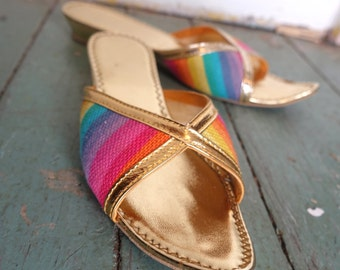 Rainbow Genie Slippers- 1970s Metallic Gold Sandals / Mules- Curled Toes- size 6- Fairy / Elf