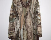 COOGI Australia L Multi Color Sweater Tribal FACES Rare Pattern / Coogi mercerized cotton Tunic Crewneck sweater Unisex L 3D Art Knit