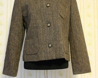 Vintage HARVE BENARD Brown Wool Herringbone Blazer with Faux Fur Collar, Size 10
