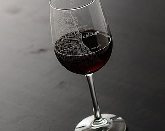 Chicago Map Wine Glass