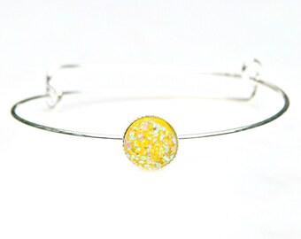Druzy Silver Bangle Bright Sunny Yellow Sparkle Slim Sleek Bracelet Lemon Shimmer Luster Everyday Wear High Fashion Style by Mei Faith