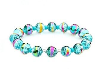 SUMMER SALE Teal Blue Crystal Bracelet Sparkle Rainbow Shimmer Beaded Bracelet Feminine Turquoise Jewelry High Fashion Vintage Flare