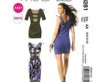 Back Slit Dress Pattern McCalls 6281 Fitted Low Back Sheath Dress Exposed Zipper Womens Sewing Pattern Size 6 8 10 12 UNCUT