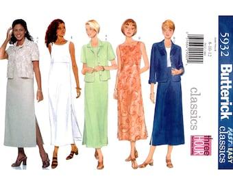 Jacket & Dress Pattern Butterick 5932 Sleeveless Empire Dress Side Slits, Loose Dress Womens Sewing Pattern Size 8 10 12 UNCUT