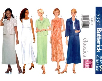 Womens Sewing Pattern Jacket & Dress Pattern Butterick 5932 Sleeveless Empire Waist Dress Side Slits, Loose Dress Size 8 10 12 UNCUT